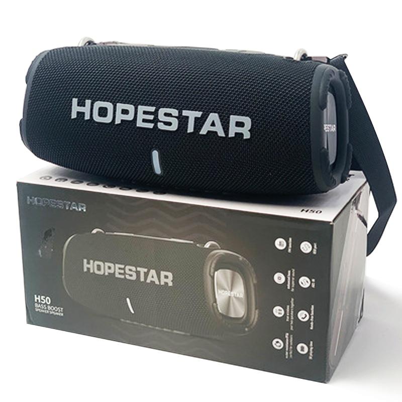 مكبرات صوت بلوتوث محمولة عالية الطاقة HOPESTAR H50 لاسلكية كبيرة طبل حزام في الهواء الطلق سوبر باس TWS حفلة قوية caixa دي سوم