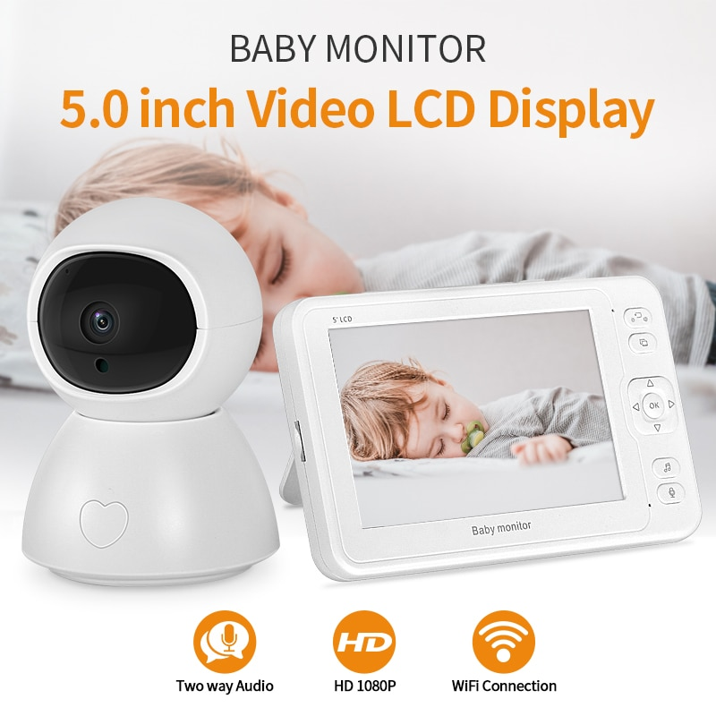 INQMEGA Baby Monitor 2MP HD Night Vision Two-Way Talk 5 Inch Nanny Video Camera 8 Lullabies Recording& Playbacking With SD Card
