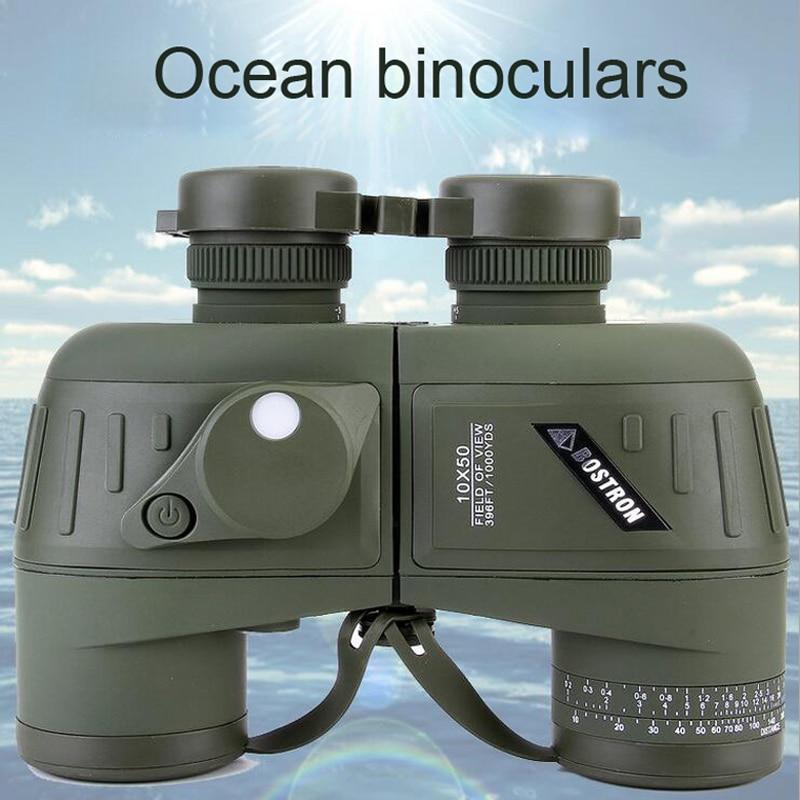 Military Binoculars 10x50 Professional Marine Binocular Waterproof Digital Compass Hunting Telescope High power lll night vision