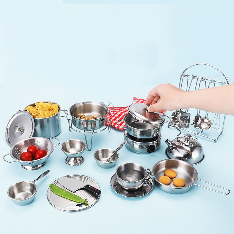 Children Play House Toys Shatterproof Stainless Steel Boys Girls Toy Kitchen Mini Model Kitchenware Set for baby playing недорого