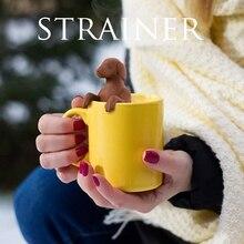 Infuseur de thé en caoutchouc Silicone   Animal, chien, chien, chiot, filtre de thé en Pet noir, gris, filtre de qualité alimentaire, passoire de thé en caoutchouc