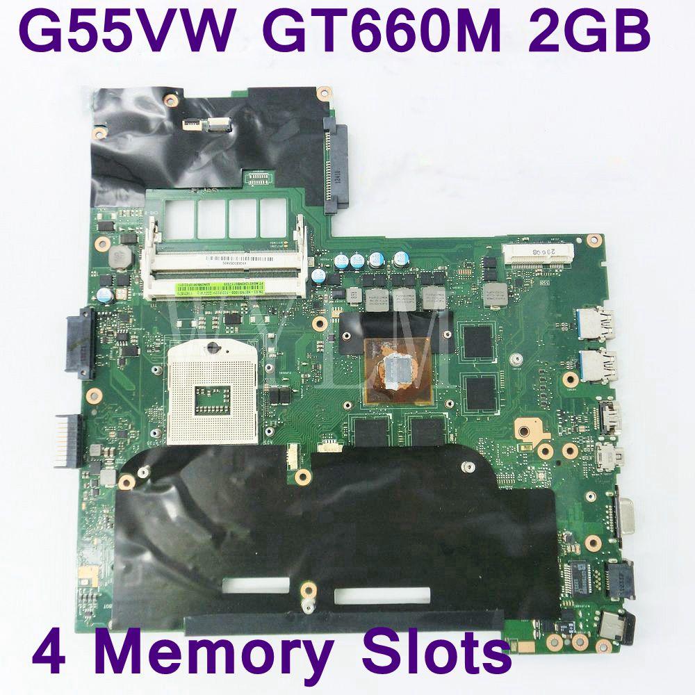 G55VW اللوحة الأم 4 فتحات الذاكرة GT660M 2GB لأسوس G55V G55VW اللوحة الرئيسية للكمبيوتر المحمول DDR3 60-NB7MB1000-F02 اختبارها بالكامل