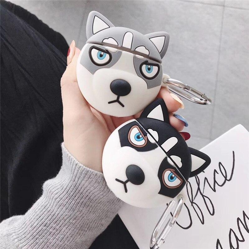 Чехол для AirPods 1 2, Симпатичный мягкий силиконовый чехол с 3D Хаски собачкой и мультяшным рисунком для наушников Bluetooth, чехол для Apple Airpods, чехол,... чехол