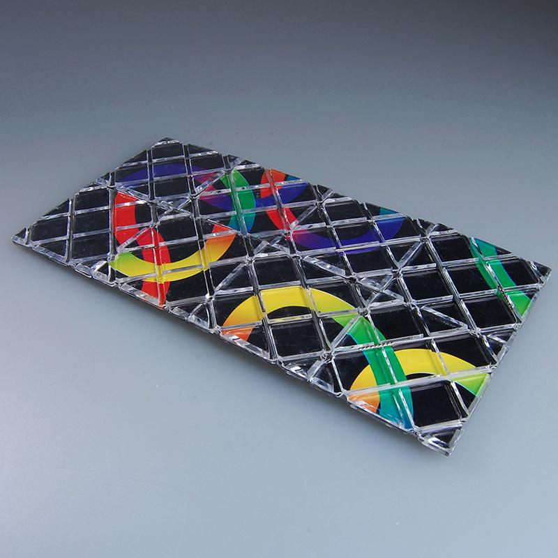 DishyKooker LingAo Mini 8 paneles 3 anillos negro rompecabezas mágico plegable cubo Twisty