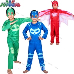 Pj máscaras aniversário patry cos jogar traje natal halloween roupas pj máscara catboy gekko owlette crianças brinquedo esportes presente