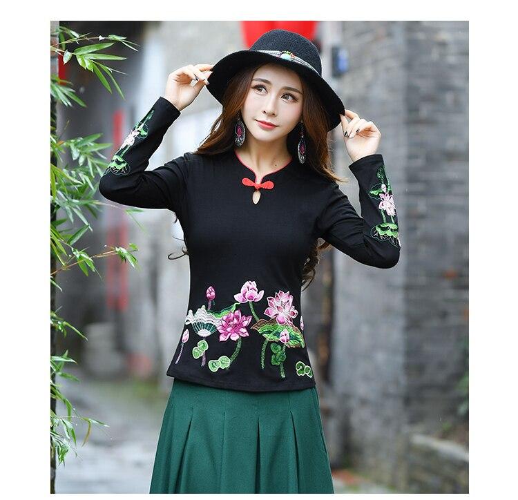 Kyqiao online loja chinesa original blusa feminina topos plus size étnico preto floral bordado camisa blusa
