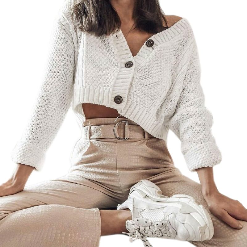 Women Batwing Sleeve Cropped Cardigan V-Neck Button Cable Knitted Sweater Coat enlarge