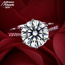 Bague 4 carats taille ronde 10MM pas faux S925 bague en argent Sterling SONA diamant Halo bague Fine Style Unique amour mariage fiançailles