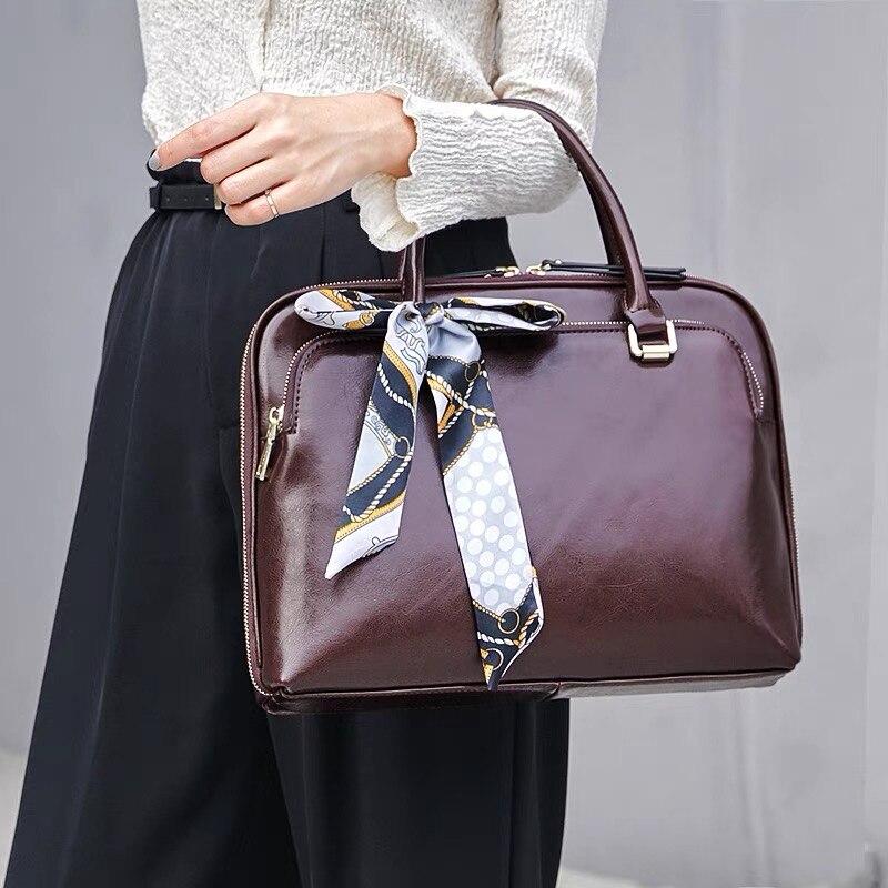 Fashion Genuine Leather Shoulder Laptop Bag 15.6 inch Women Briefcases 13.3 14 Bag For Designer Computer Handbag Lady Travel Bag