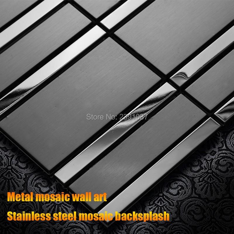 Azulejo de mosaico de metal de estilo coreano backsplash Metal adhesivo artístico de pared 3D azulejo de mosaico de acero inoxidable para TV azulejos de pared de fondo