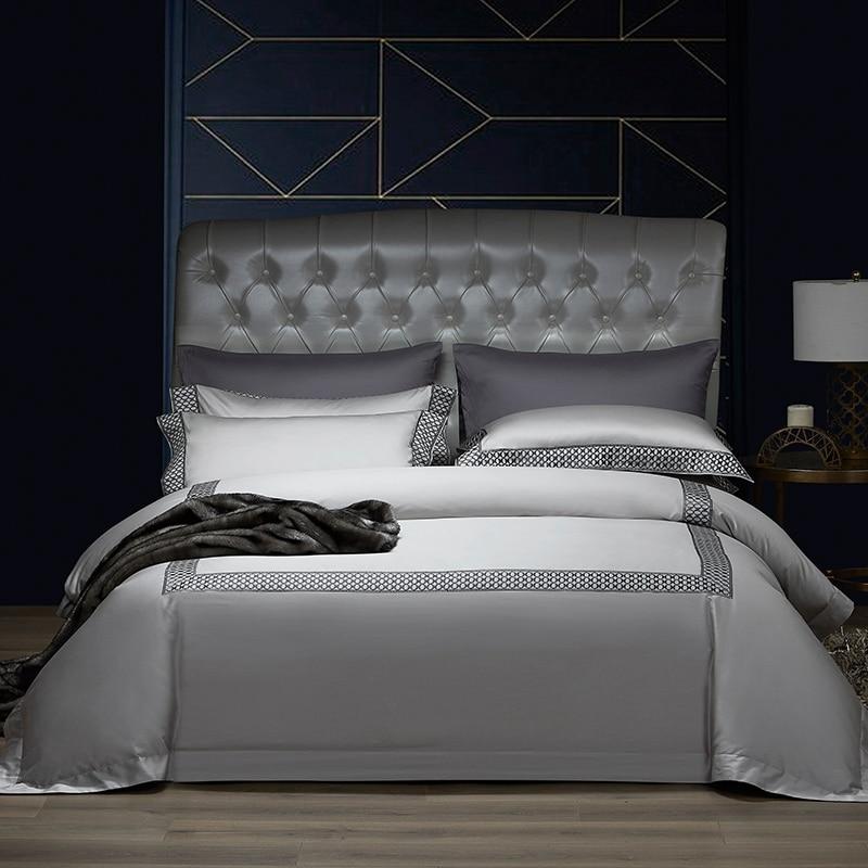 Funda de edredón de algodón egipcio de lujo 1000TC conjunto de ropa de cama suave y sedosa elegante sábana de edredón 2 almohadas shams