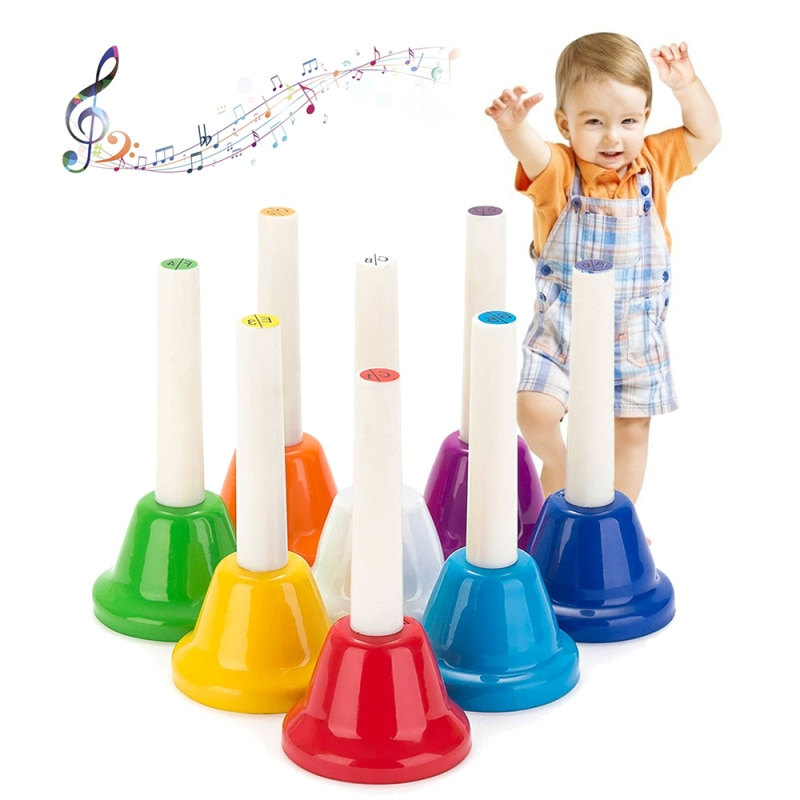 8PCS Note Children Metal Bell Music Percussion Instrument Toy Children Color Optional Toy for Kids Children enlarge