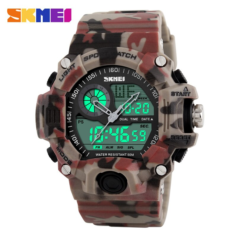 Reloj SKMEI de doble pantalla para hombre, reloj de pulsera deportivo militar, relojes de 12/24 horas, relojes Chrono LED para hombre, relojes de moda a prueba de agua, reloj 1029