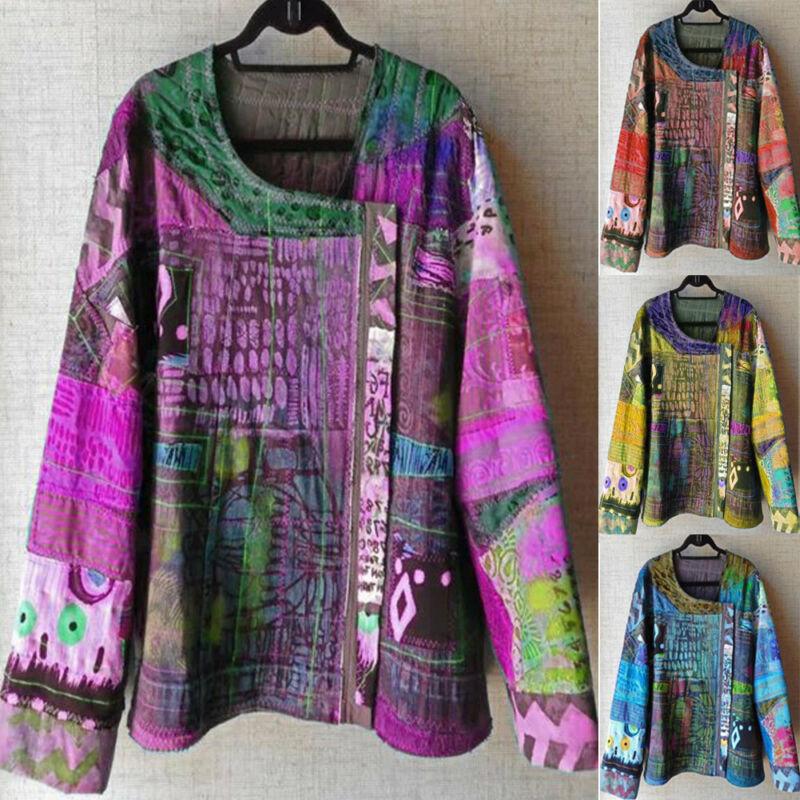 S 5xl 5xl tamanho grande das mulheres senhoras boho blusas topos estilo étnico moda senhoras manga longa túnica blusa solta impressão floral topos