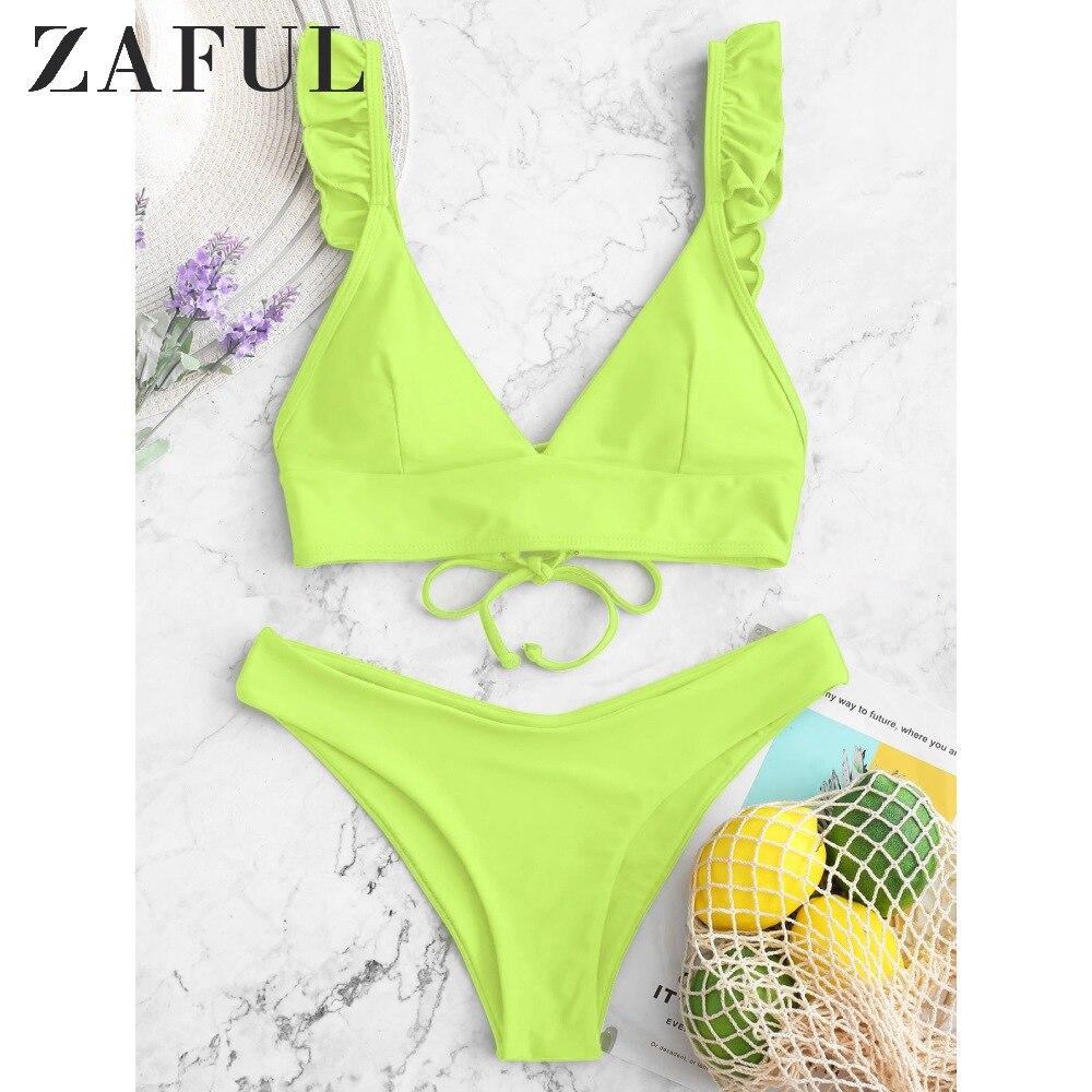 ZAFUL volante de encaje acolchado Bikini correas para trajes de baño escote verano 2020 triángulo Copa Split Bikini de corte alto traje de baño de dos piezas