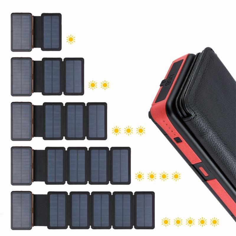 بنك طاقة شمسية قابل للطي 20000mAh بنك طاقة مقاوم للماء مع مصباح LED مزدوج USB لوحة للطاقة الشمسية شاحن ل شاومي آيفون 12 11