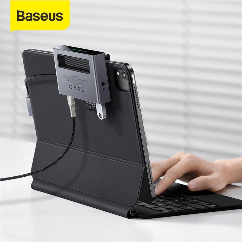 Baseus USB HUB 3.0 Type C HUB to 4K HD TF SD Slot Retractable Clip HUB USB C Smartphone Adapter USB Type C HUB for iPad MacBook