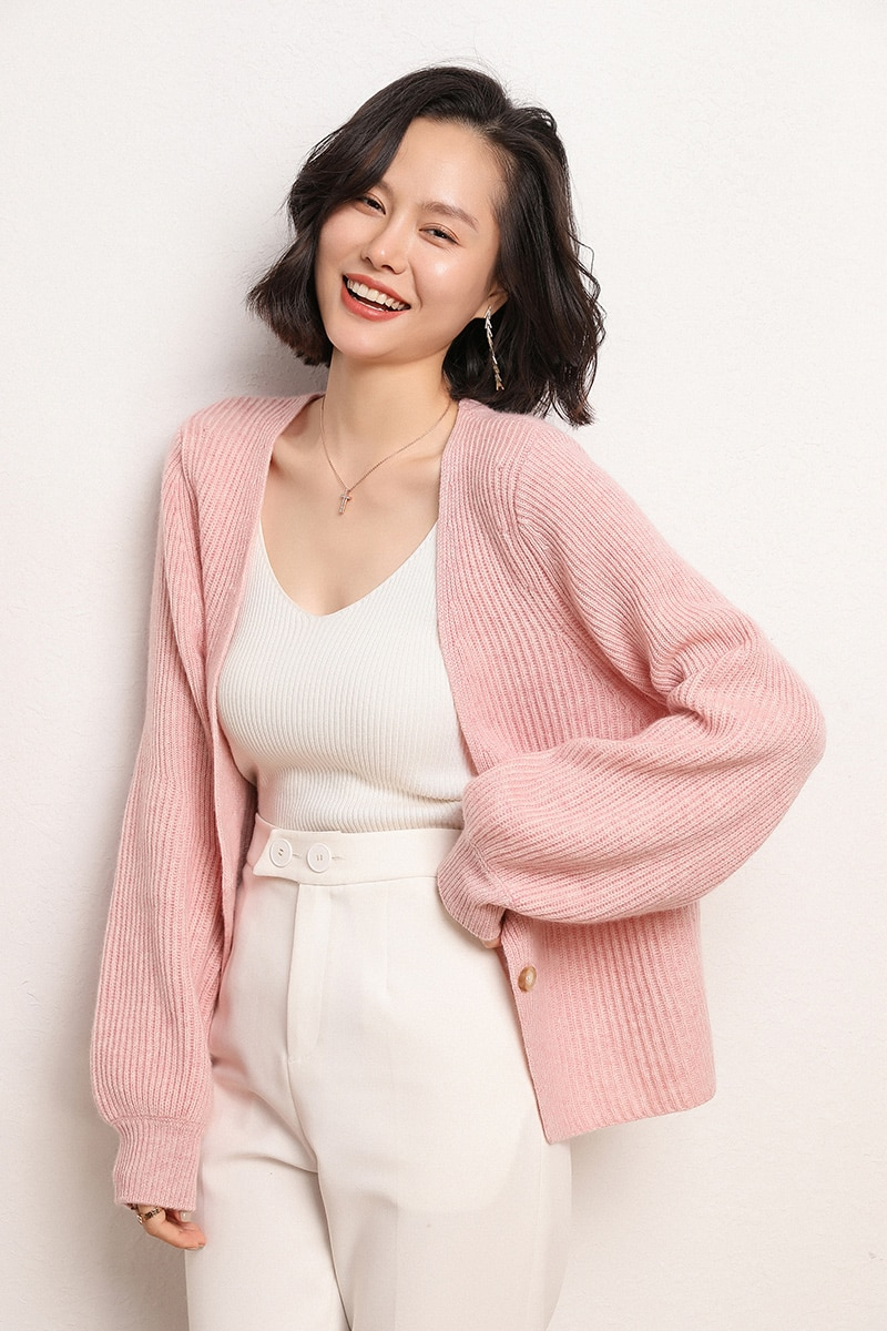 100% Cashmere V-neck Sexy Female Sweater Long Sleeves Sweater Women Autumn Winter Warm Thickening Sweater Knitting Cardigan enlarge