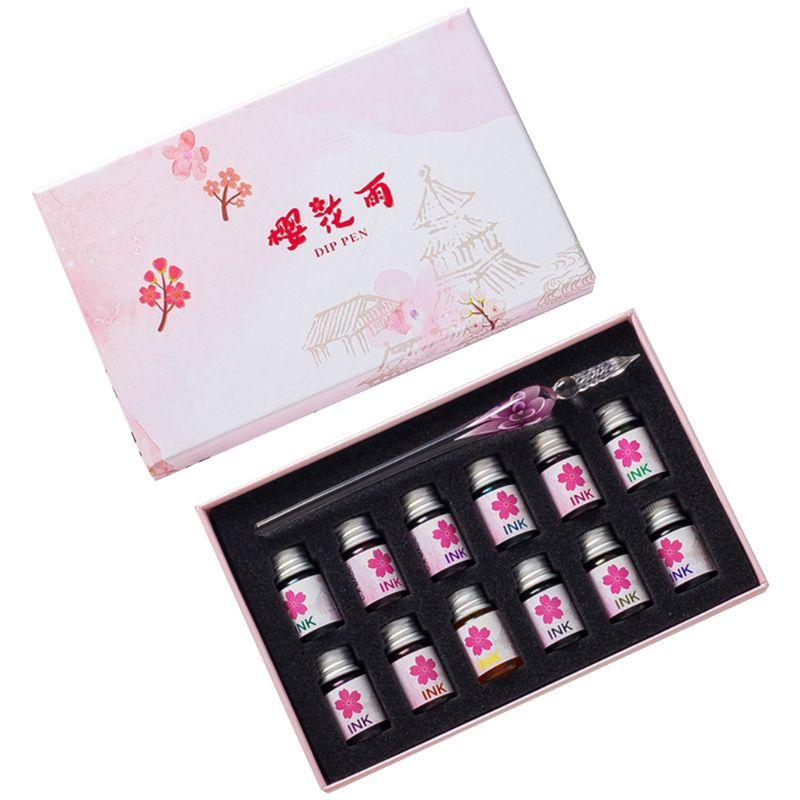 13 unids/set Cherry Blossom lluvia embotellada Dip de tinta de la pluma con fuente Dip Firma de escritura pluma arte regalos