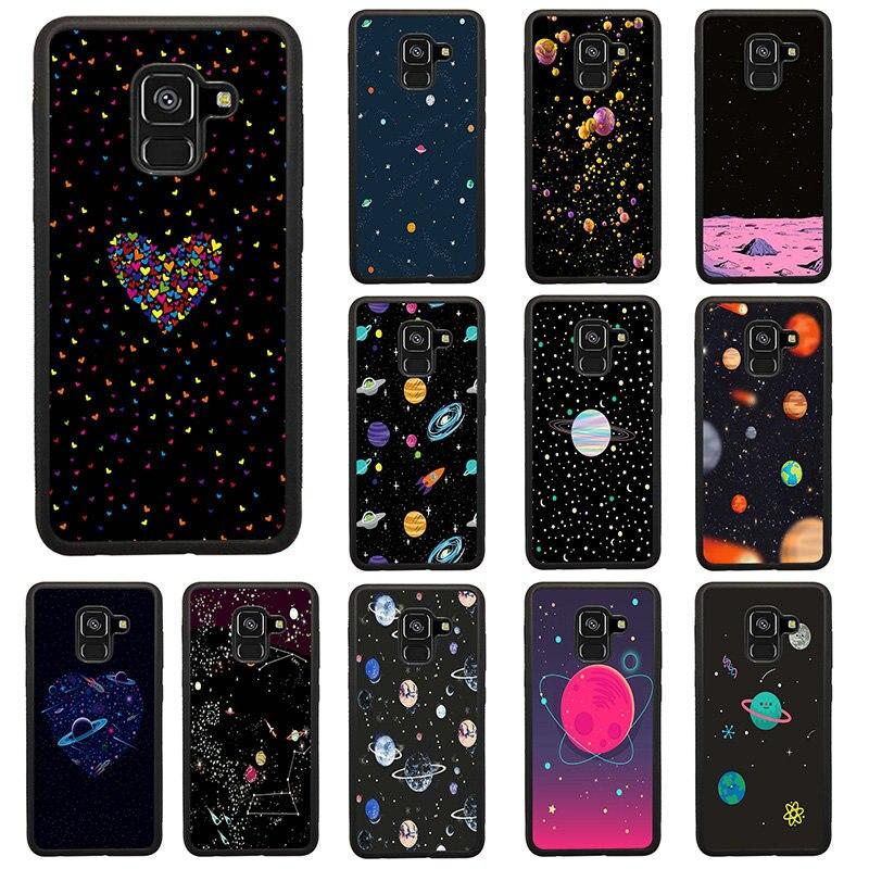 De dibujos animados cósmico espacio planeta caja del teléfono celular para Samsung Galaxy Note 8 S7 S8 S9 S10 A5 A8 J3 J4 J6 J7 J8 2017 Más de 2018