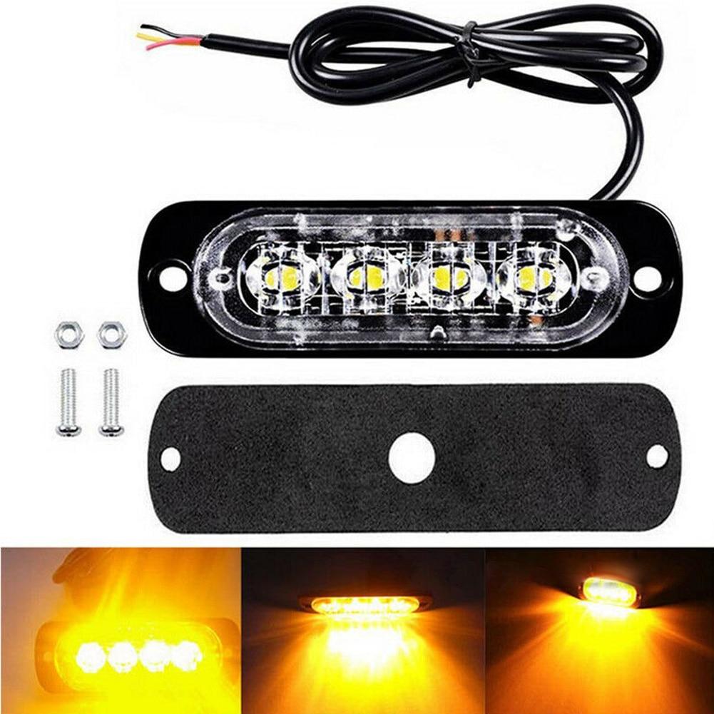 High Brightness 6500K 12 LED Amber White Strobe Light Car Truck Flashing Warning Light 12V-24V Flash Emergency Light Lamp