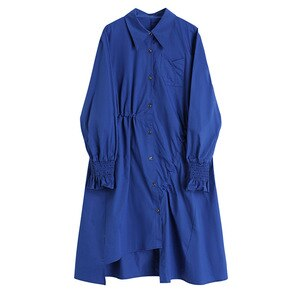 Autumn Winter Woman's Slim Dress For Women Spring Ladies Loose Shirt Dresses Women's Temperament Blue Harajuku Dress