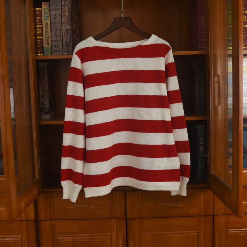 2020 Autumn High quality 100% Cotton Men/women's casual loose stripe sweaters Korean style women pullovers top C410 enlarge