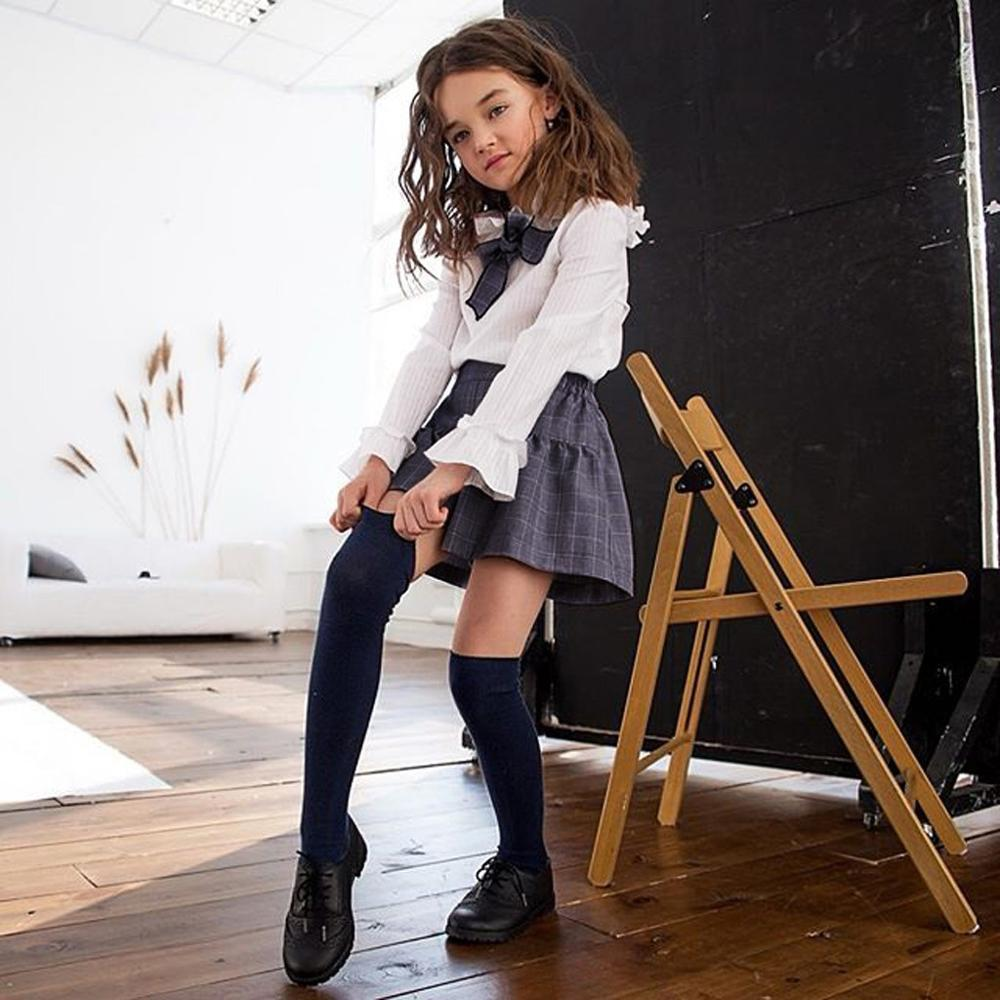 3 Pcs Kids Baby Girl Dress Set Girls College Wind Trumpet Sleeve Plain Top Plaid Skirt Bow Tie vestido infantil Girl Clothes A2