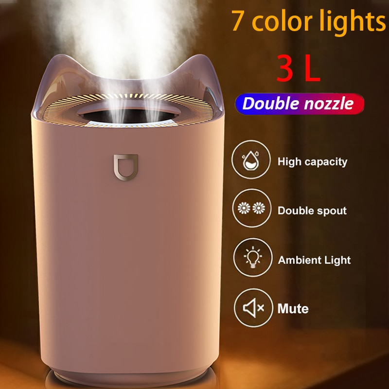 2021 المنزل الهواء المرطب 3L مزدوجة فوهة كول ضباب ناشر رائحة مع مصباح ليد ملون الثقيلة الضباب بالموجات فوق الصوتية USB المرطب