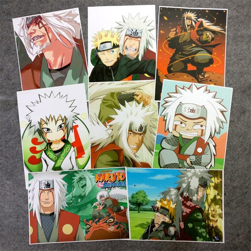8 unids/set Anime cartel de Naruto Jiraiya Gama Sennin Ero-sennin figura de pared fotos para sala de estar A3 película carteles para regalos