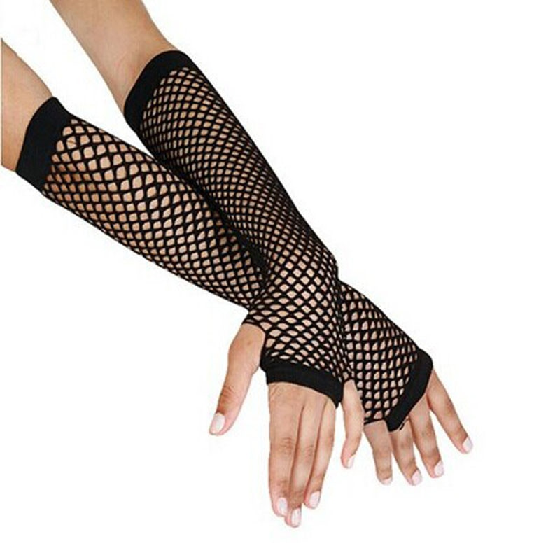 Guantes de rejilla negros para mujer, guantes elegantes largos sin dedos, para...
