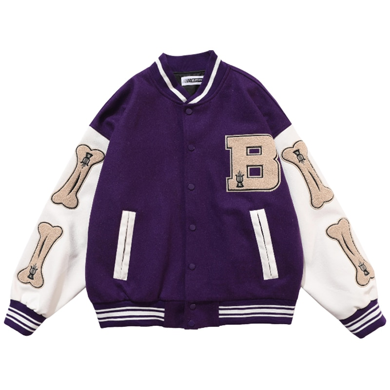Mens Hip Hop Baseball Jacket Coats Furry Bone Letter Patchwork Optional Harajuku College Style Bomber Jacket Men Oversize M-2XL