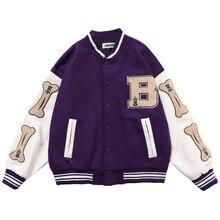 Mens Hip Hop Baseball Jacket Coats Furry Bone Letter Patchwork Optional Harajuku College Style Bombe