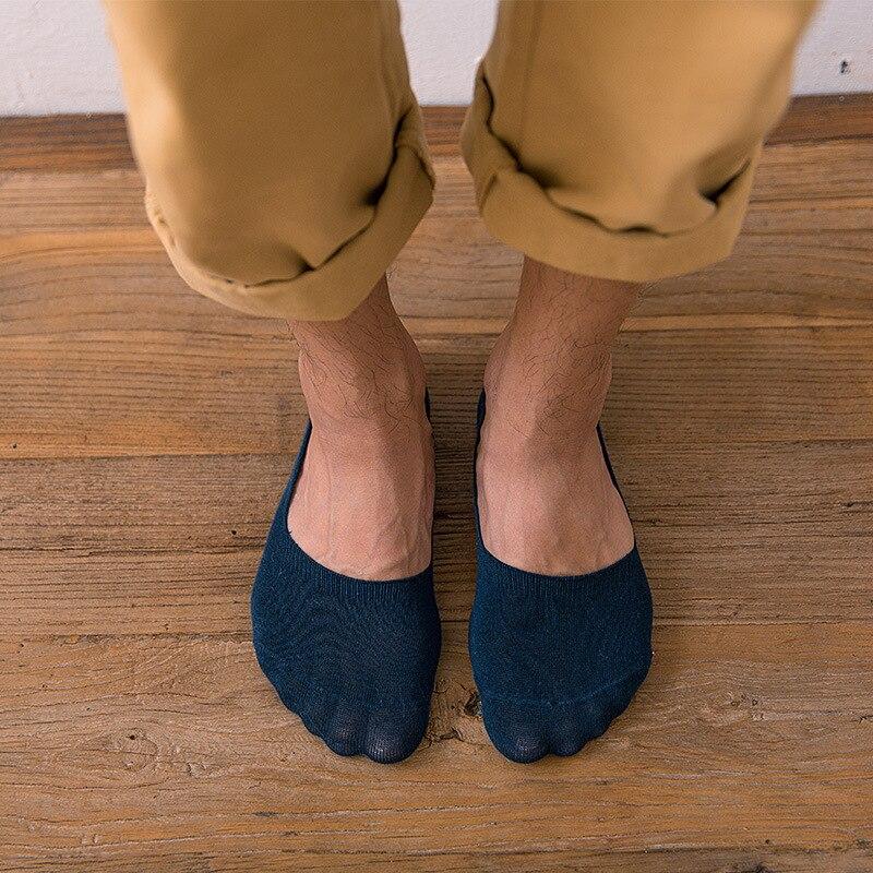 5 pares Unisex de Color sólido hombres Calcetines de algodón antideslizante de...