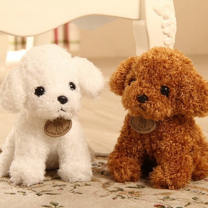 Realistic Teddy Dog Lucky Simulation Poodle Plush Toys Handmade Figure Toy  Anim For Kids