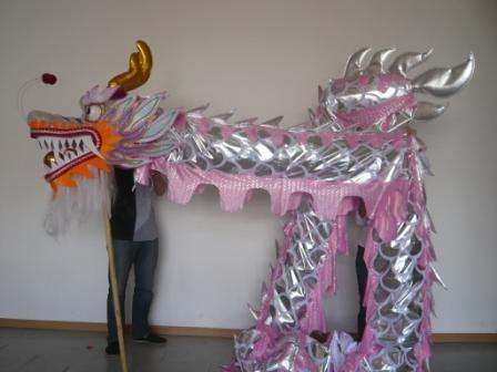 7m Golden Pink Sliver Dragon Dance Costume 6 Players Children Student School  Art Halloween Party Performance Parade Folk Stage