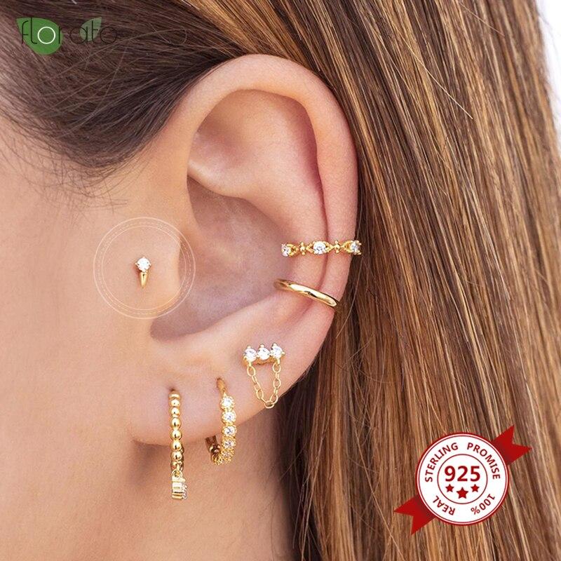 Minimalismus INS Charming CZ Kristall Ohrringe 925 Sterling Silber Stud Ohrringe für Frauen Mädchen Ohr Schmuck Geschenke