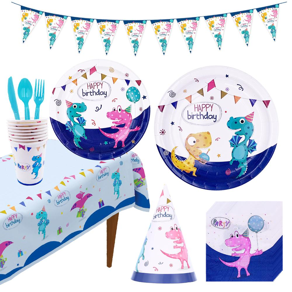 Dinosaur Theme Parti Paper Plate Cup Napkins Boy Happy Birthday Party Decor Kids Jurassic World Party Jungle Safari Birthday