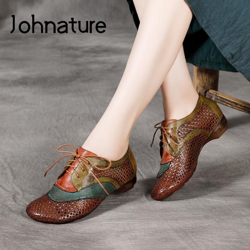 يوناتير-حذاء مسطح من الجلد الطبيعي للنساء ، حذاء كاجوال بأربطة مختلطة الألوان ، مقدمة مستديرة ، ضحل ، ريترو ، مجوف ، 2021