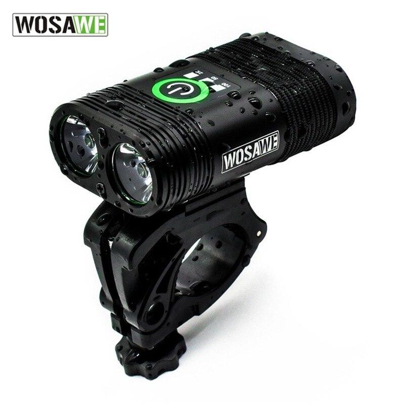 WOSAWE مقاوم للماء دراجة ضوء دراجة أمامية ضوء مصباح ليد جيب USB قابل لإعادة الشحن المتكاملة مزدوجة كشافات دورة دراجة أضواء