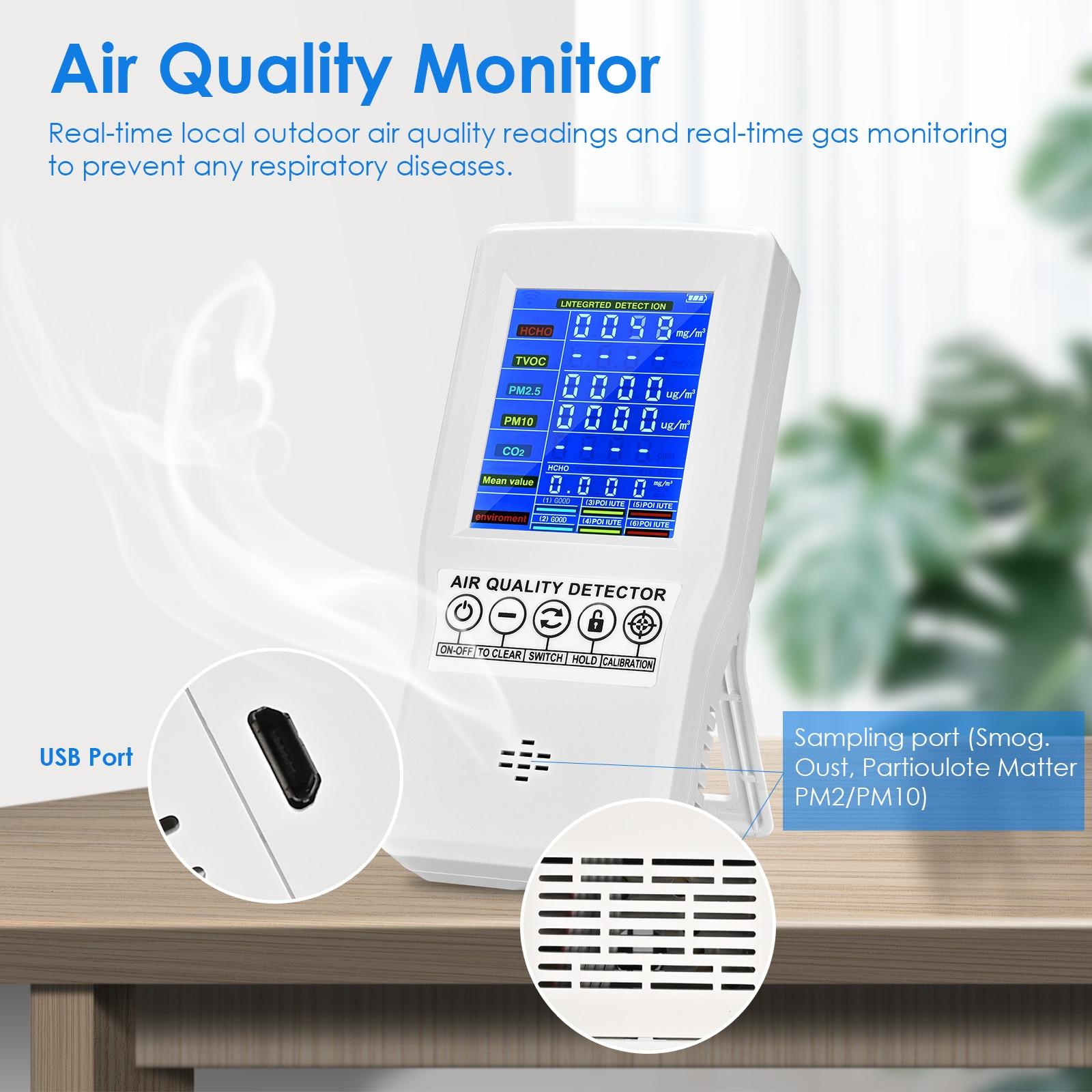 مراقبة جودة الهواء اختبار دقيق ل CO2 الفورمالديهايد (HCHO) TVOC PM2.5/PM10 متعددة الوظائف كاشف الغاز الهواء الاتحاد الأوروبي مستودع