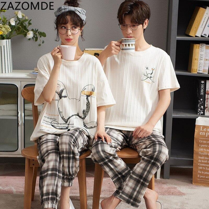 NIGHTWA Summer Print Cotton Couple Pajamas Set Cartoon O-Neck Nightwear Female Casual Sleepwear Girl
