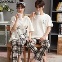 nightwa summer print cotton couple pajamas set cartoon o neck nightwear female casual sleepwear girls underwear loungwear