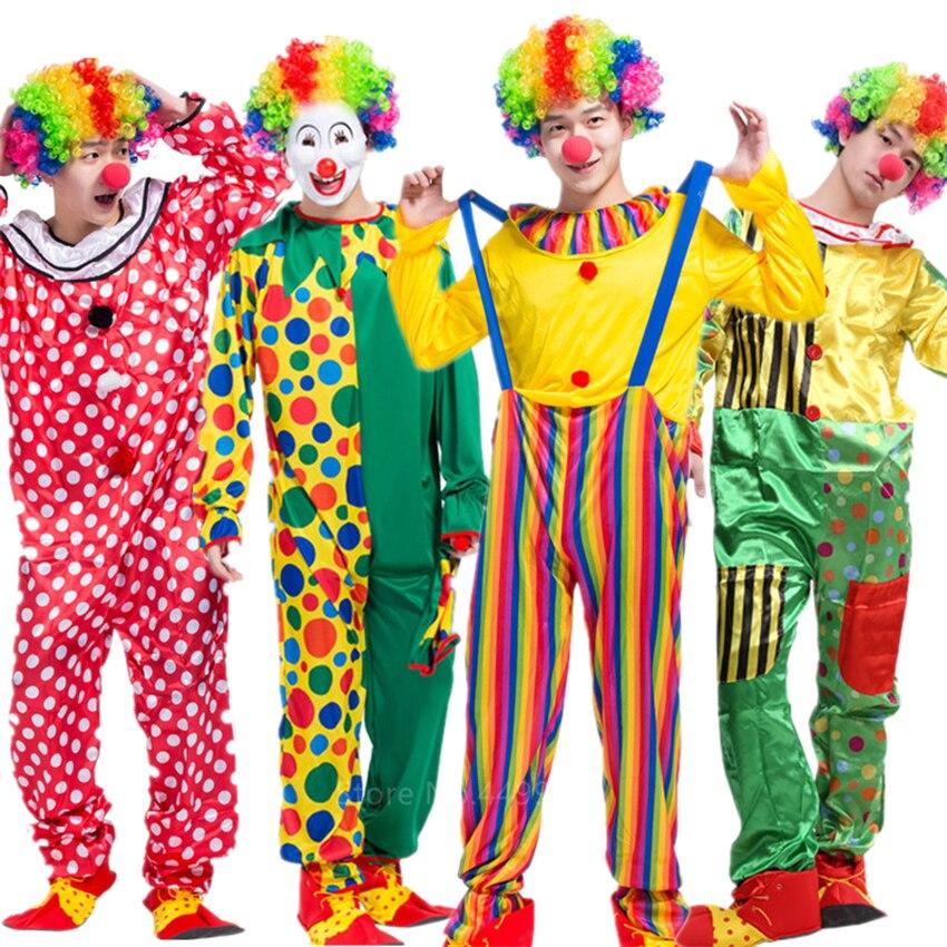 Disfraz de Halloween de payasos para adultos de 8 estilos para hombre y mujer, disfraz de carnaval, circo, Horror, terrorífico, ropa divertida de actuación de fiesta
