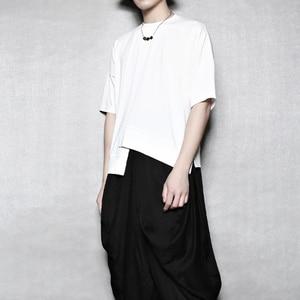 Men's, asymmetrical split-level stitching round-necked slim short-sleeved t-shirt men's trend