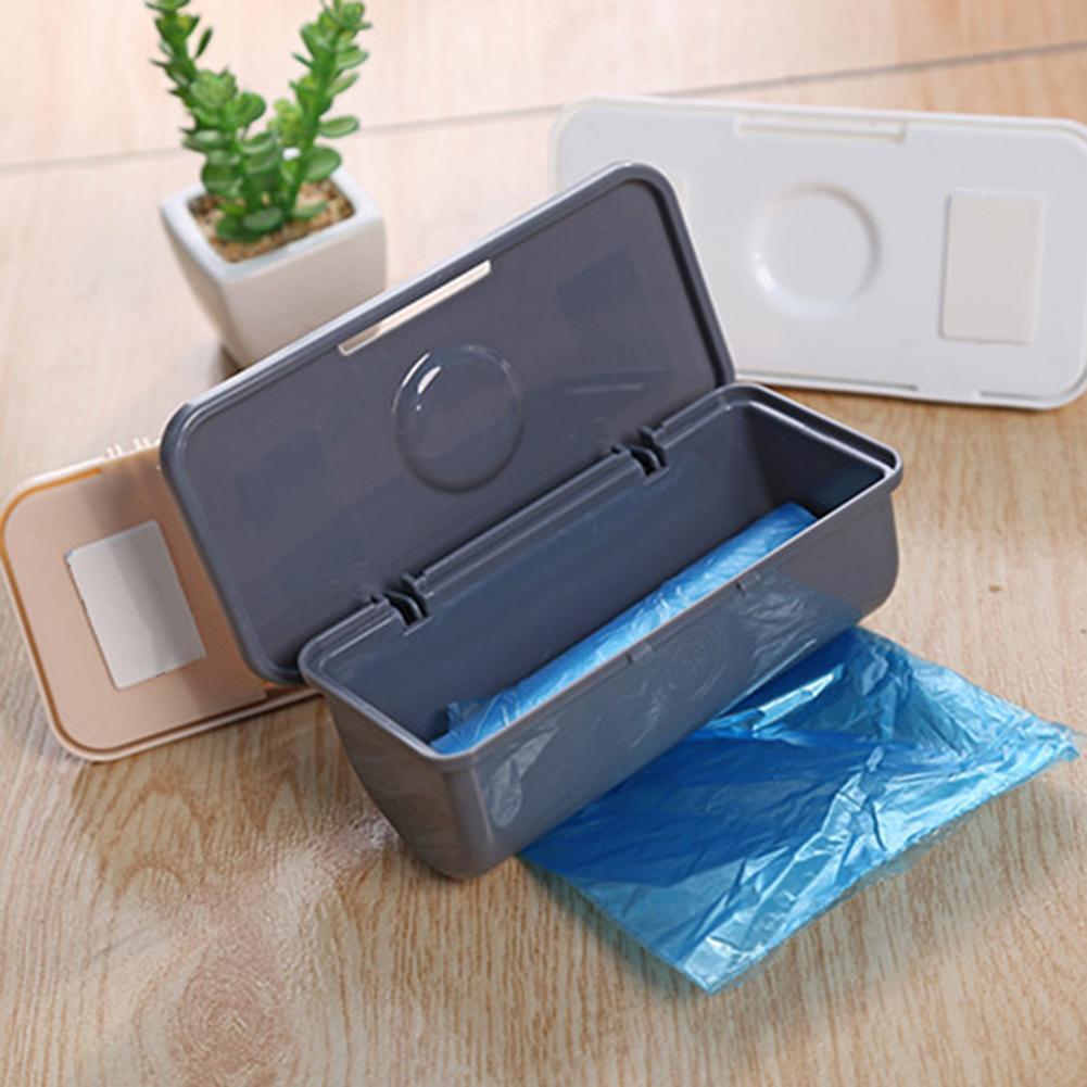 Fixado na parede do lixo saco de lixo recipiente titular plástico caixa de armazenamento dispensador cozinha sala utensílios de mesa para cozinha organizador