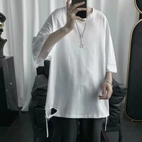 oversized hole side slit punk unisex summer white t shirt short sleeve cotton men woman hip hop tops 2021 japanese streetwear