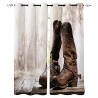 living room curtains western cowboy vintage boots blackout curtain for bedroom bay window decorative shading cloth
