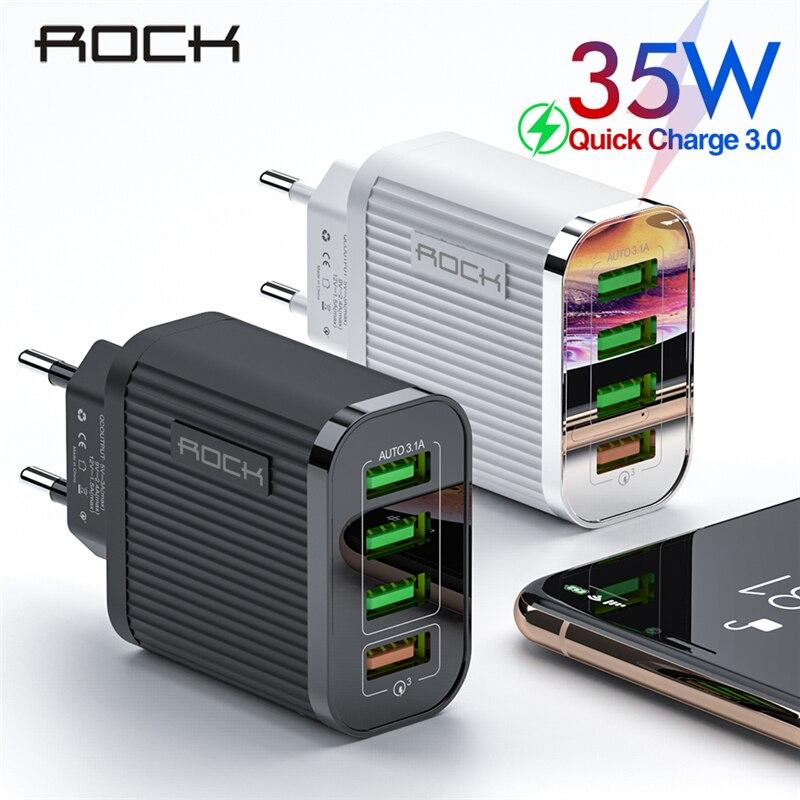 Chargeur rapide ROCK 3.0 chargeur de téléphone 4 ports USB 35W QC 3.0 chargeur rapide pour iPhone 11 Xiaomi adaptateur chargeur de voyage mural