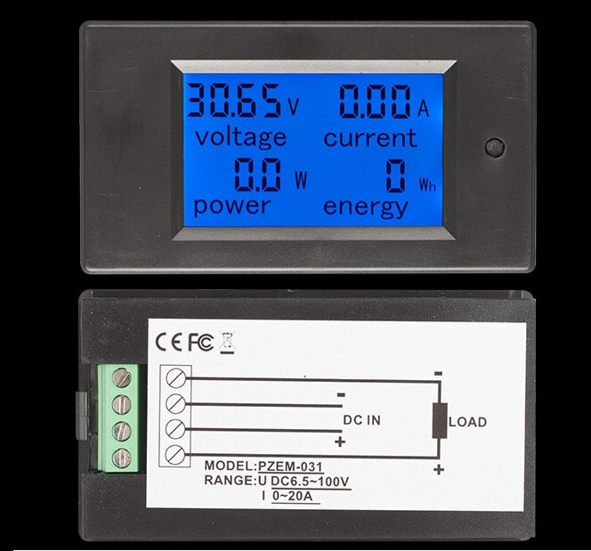 DC 20A LCD Combo Medidor de Tensão Atual Monitor de Energia KWh Watt Pannel Bateria Do Carro